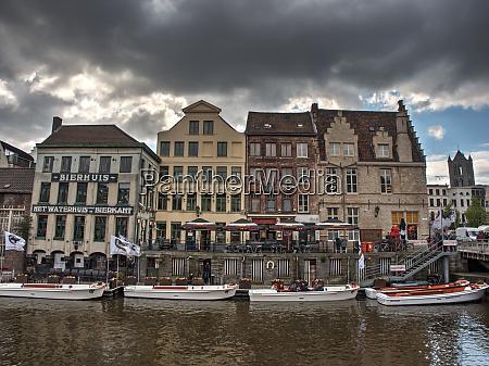 belgium ghent waterfront at vleeshuistragel