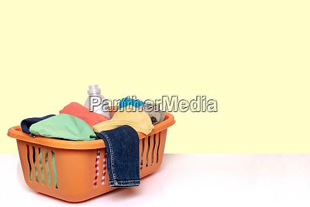 closeup of a orange wash basket