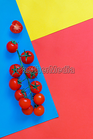 cherry tomatoes on a blue coral