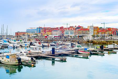 gijon citycsape boats marina spain