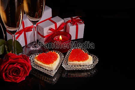 champagne red caviar and gifts valentines