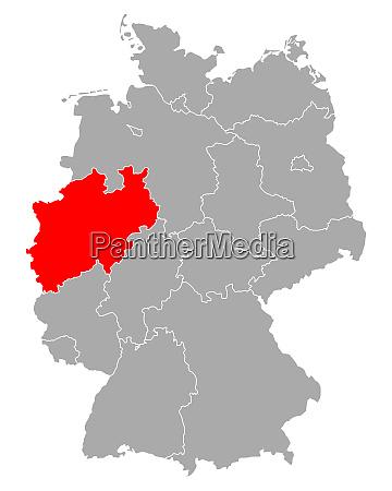 map of north rhine westphalia in