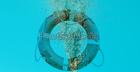 water flow splash and lifebuoy with