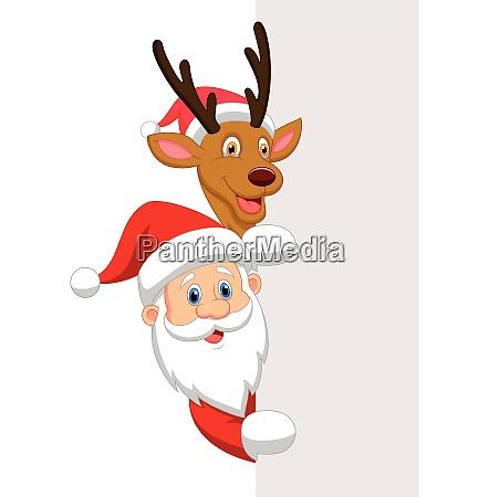 santa and red nose reindeer