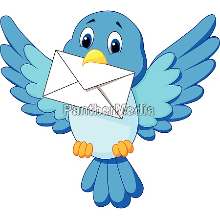 cute bird delivering letter