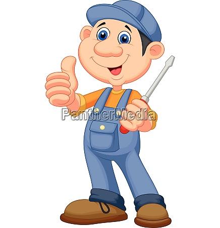 cute mechanic cartoon holding a screwdriver