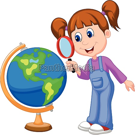 cartoon girl using magnifying glass looking