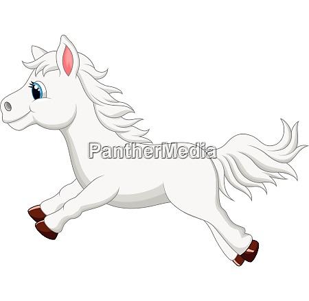 white horse cartoon running