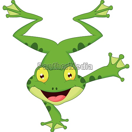 funny frog cartoon standing on its