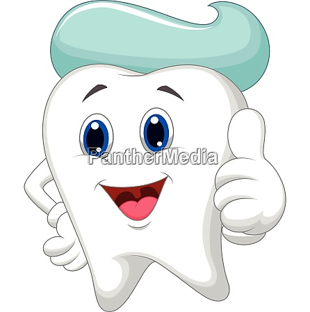 tooth giving a thumbs up