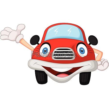 cute red car cartoon character