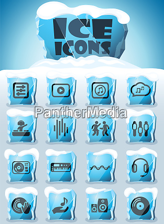 electro music icon set