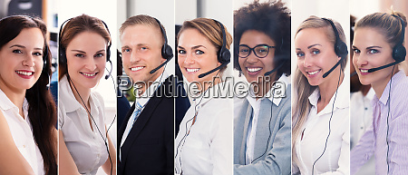 call center support workers collage