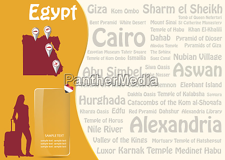 travel to egypt template vector with