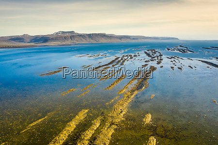 aerial view on icelandic landscape from