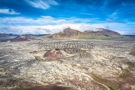 aerial drone view of volcanic landscape