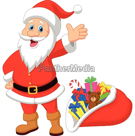 happy santa clause with gift waving