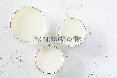 glass bowls dairy products