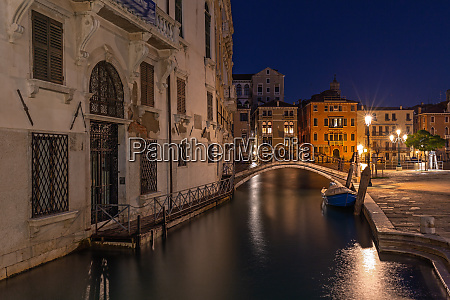 side canal in venice at night