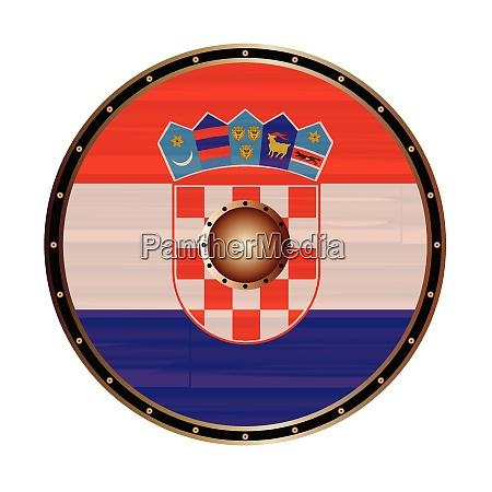 round viking style shield with croatia