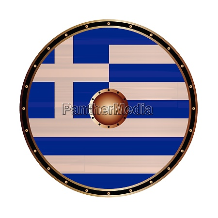 round viking style shield with greek