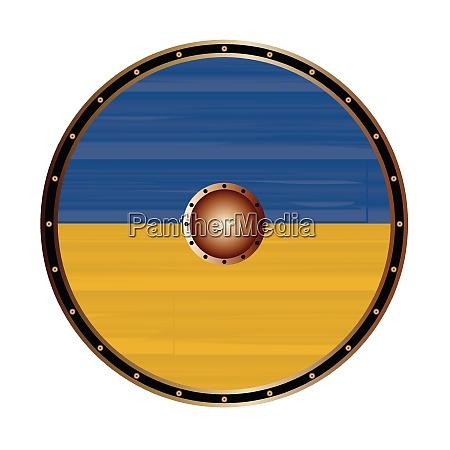 round viking style shield with ukraine