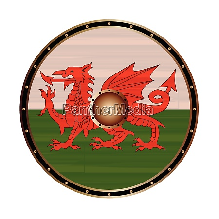 round viking style shield with welsh