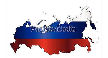 russian modern flag silhouette map