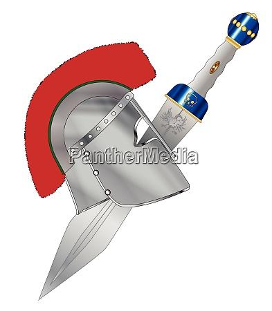 roman gladiator helmet and sword