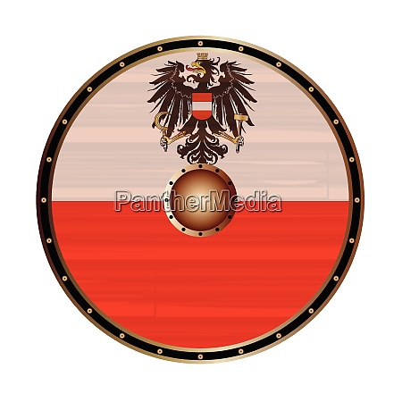 round viking shield with austrian flag