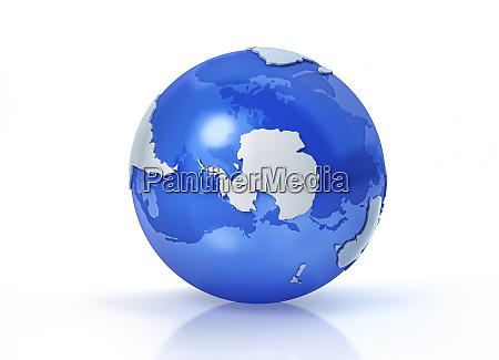 earth globe stylized south pole view