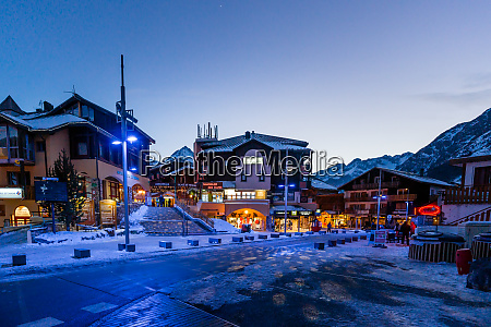 nightlife in alpine village with traditional