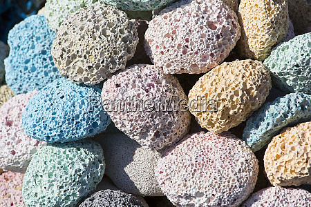 colored natural pumice stones at the