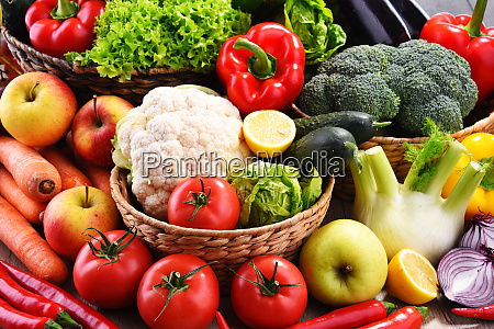 composition with assorted organic vegetables and