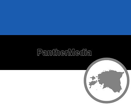 fahne und landkarte der estland