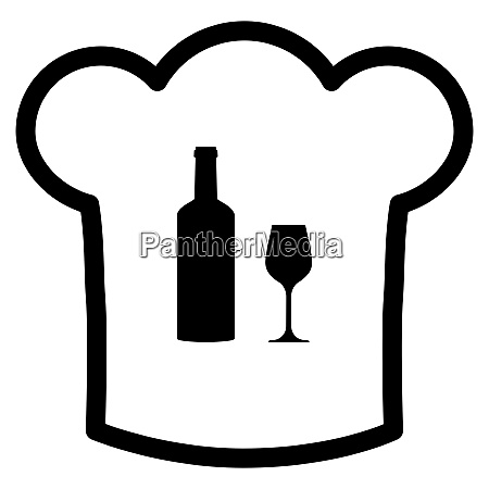 wine glass and chef hat