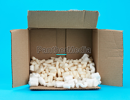 open rectangular brown cardboard box with