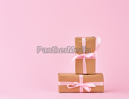 gifts in boxes wrapped in brown