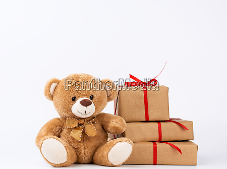 cute beige teddy bear and stack
