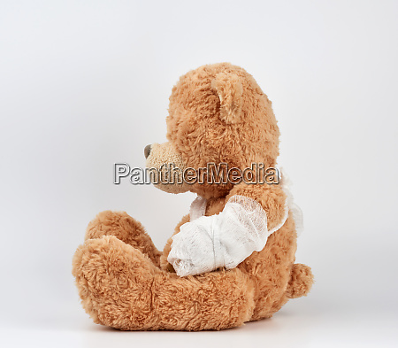 large, beige, teddy, bear, with, patches - 27962514