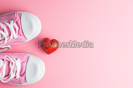 valentines day love concept pink sneakers
