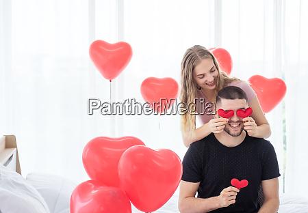 sweet lovers in the bedroom