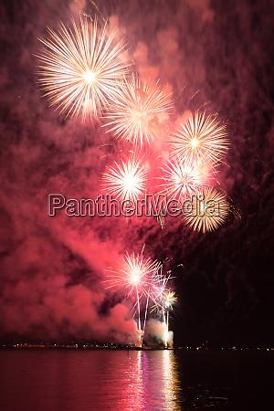 luxury fireworks event sky water sea