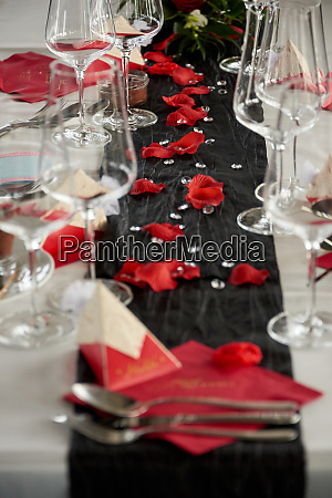 wedding party dining decorated desks