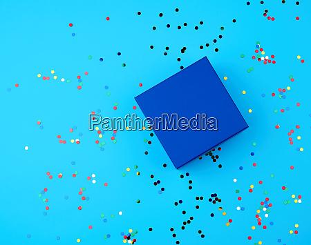 closed square empty blue gift box