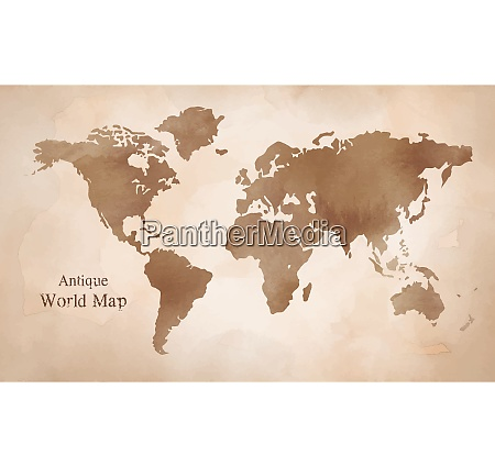 antique wold map with watercolor texture
