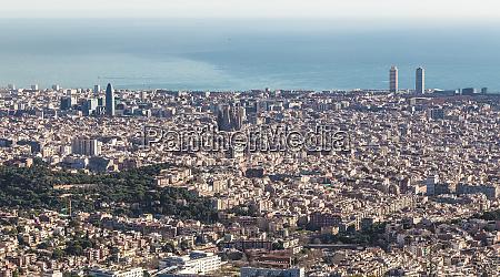 skyline of barcelona spain europe