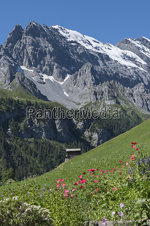 switzerland rugged mountains rising steeply above