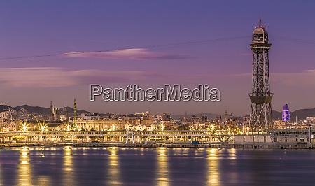 barcelona skyline panorama barcelona spain europe
