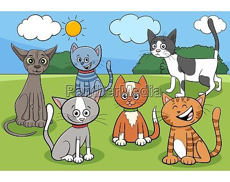 cats group in park cartoon illustration